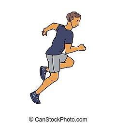 ランナー, 運動選手, ベクトル, 特徴, イラスト, スケッチ, スタイル, isolated., マレ