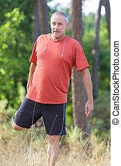 ランナー, 運動選手, 伸張, 森林, 成長した, マレ