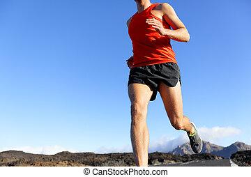 ランナー, 運動選手, -, 動くこと, クローズアップ, マレ, 道, 人