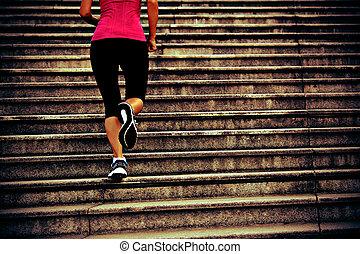 ランナー, 運動選手, 動くこと, 上に, 階段