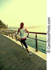 ランナー, 運動選手, 動くこと, 板張り遊歩道
