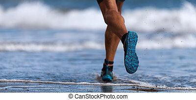 ランナー, 運動選手, 動くこと, 海, 波