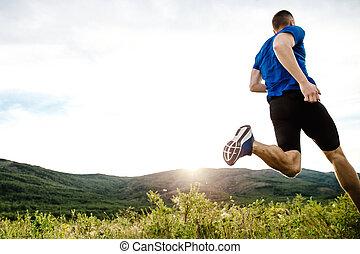 ランナー, 運動選手, 動的, 動くこと