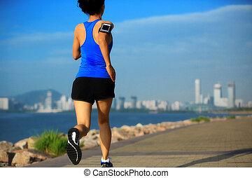 ランナー, 運動選手, 海岸, 動くこと