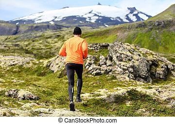 ランナー, 運動選手, -, 運動, 小道ラニング, スポーツ