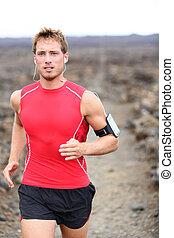 ランナー, 運動選手, -, 運動, 走っている男性