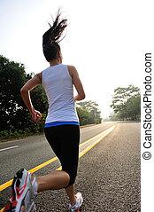 ランナー, 運動選手, road., 動くこと