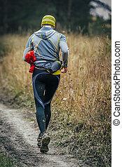 ランナー, 道, 走っている男性, 森林