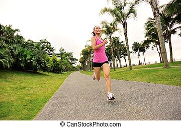 ランナー, 道, 運動選手, 動くこと