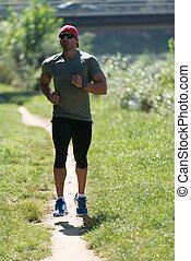 ランナー, 都市, 走っている男性, 公園