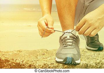 ランナー, 靴ひも, 若い, 結ぶこと, 人