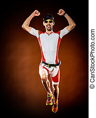 ランナー, triathlon, 隔離された, 男ラニング, ironman