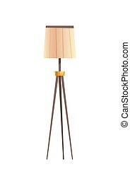 ランプのかさ, ベージュ, 装置, 床, 照明