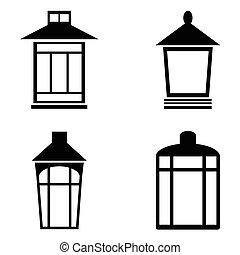 ランプ, セット, 通り, アイコン