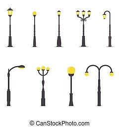 ランプ, セット, 通り