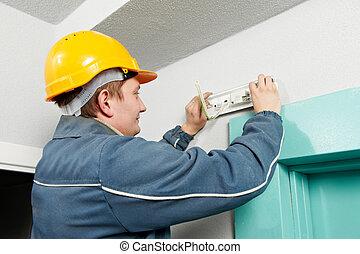 ランプ, 仕事, 電気技師, インストール