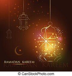 ランプ, 幸せ, iilluminated, 背景, ramadan, kareem