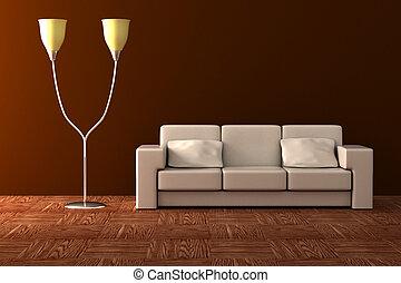 ランプ, 床, interior., sofa., 詳細