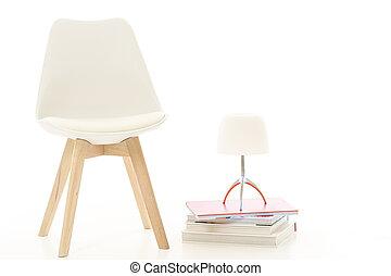 ランプ, 現代, スタジオ, 白, 椅子