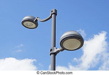 ランプ, 通り, 空, 曇り