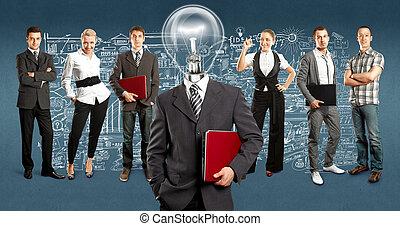 ランプ, 頭, ビジネス チーム
