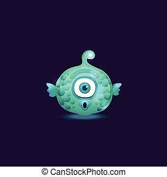 ランプ, fish, fins., 形, ボール, 驚かされる, squishy, シクロプス, anglerfish, モンスター
