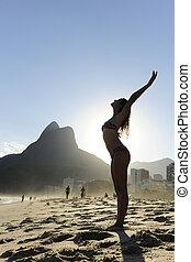 リオデジャネイロ, ダンス, 浜, 女