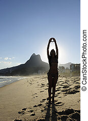 リオデジャネイロ, 浜, 瞑想する, 女