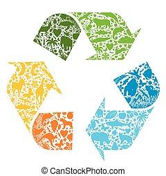 リサイクルされる, ベクトル, ロゴ