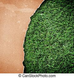 リサイクルされる, ペーパー, 草, バックグラウンド。