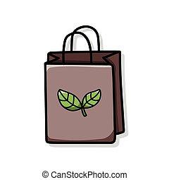 リサイクルされる, 買い物袋, いたずら書き