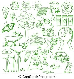 リサイクルしなさい, いたずら書き, エコロジー, セット, アイコン