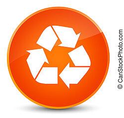 リサイクルしなさい, アイコン, 優雅である, オレンジ, ラウンド, ボタン