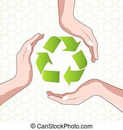 リサイクルしなさい, アイコン, 手