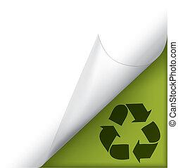 リサイクルしなさい, コーナー, カールされた, ページ, 印