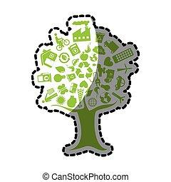 リサイクルしなさい, ステッカー, エコロジー, 木, enviroment