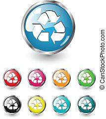 リサイクルしなさい, セット, アイコン, ベクトル