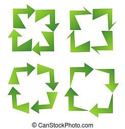 リサイクルしなさい, セット, 緑, 印