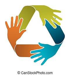リサイクルしなさい, チームワーク, 概念, デザイン