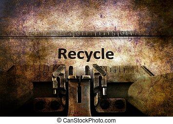 リサイクルしなさい, テキスト, タイプライター