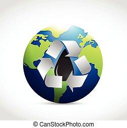 リサイクルしなさい, 地球, オイル, のまわり, イラスト
