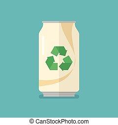 リサイクルしなさい, 平ら, 缶, アイコン