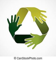 リサイクルしなさい, 概念, チームワーク, イラスト