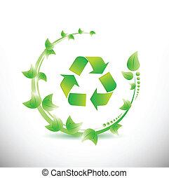 リサイクルしなさい, 葉, 緑, のまわり, シンボル。