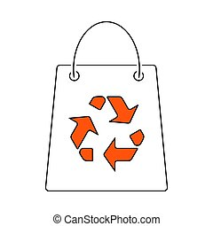 リサイクルしなさい, 袋, アイコン, 買い物, 印