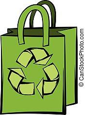リサイクルしなさい, 袋, シンボル, ペーパー