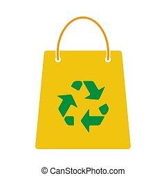 リサイクルしなさい, 買い物, 印, 袋, アイコン