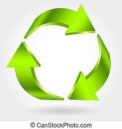 リサイクルしなさい, icon., 緑, シンボル。