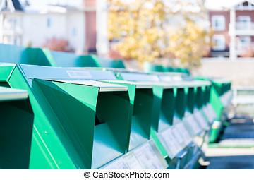 リサイクルボックス, 中に, 都市, 都市, へ, 堆積, 無駄, 材料