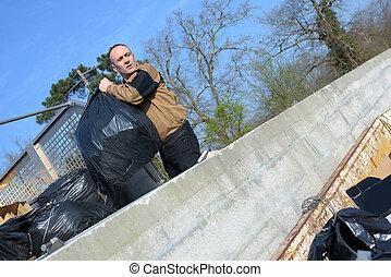 リサイクル, ごみ収集人, トラックのローディング, 無駄, そして, ごみ箱